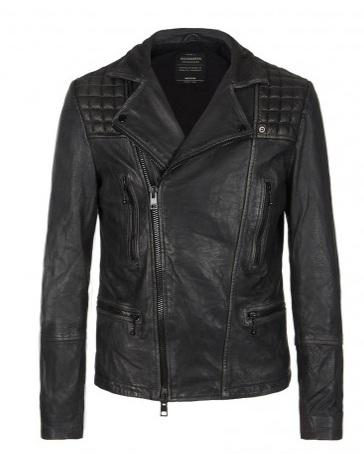 Cargo leather biker jacket_All Saints