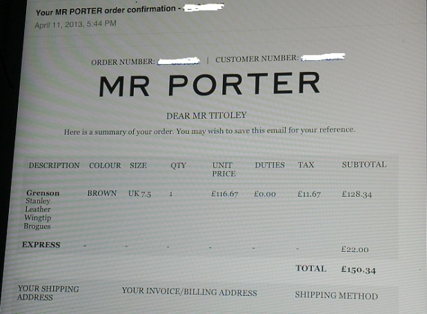 Mr.Porter Order Number