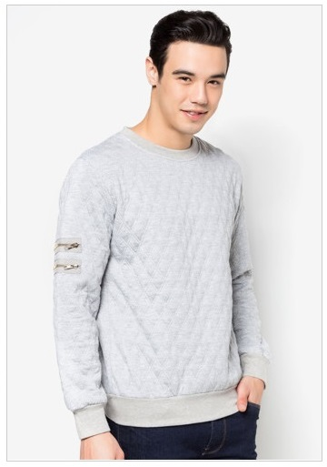 24 01 W quilted sweatshirt with zipper